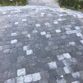 Kilkenny tumbled paving in conjunction with flamed paving pathway