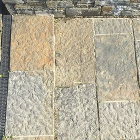 Cut regular grey brown sandstone