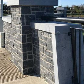 Modular limestone complimented with sanded limestone wall capping